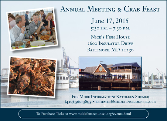 Annual Meeting and Crab Feast: June 17, 2015