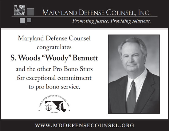 "MDC congratulates S. Woods ""Woody"" Bennett and the other Pro Bono Stars for exceptioinal commitment to pro bono service."